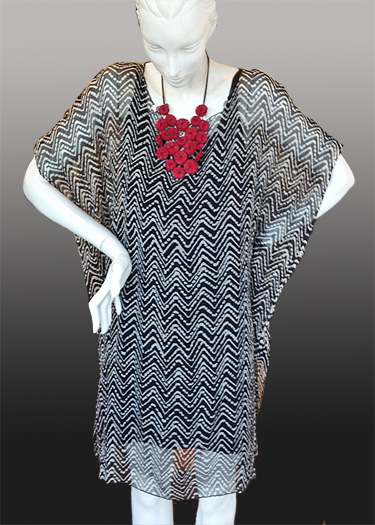 DAVID.BALI: Caftan, Black and White Geometric
